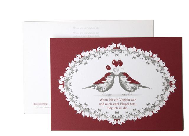 Suse Kaluza Design Postkarte Spatz klein